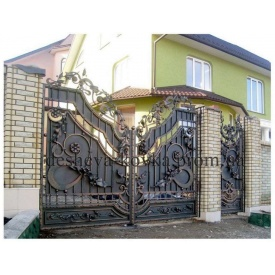 Элитные кованые ворота с калиткой A-0103 Дешевая ковка
