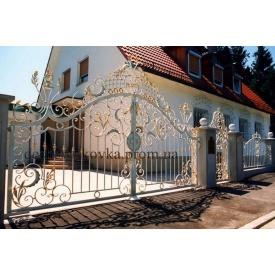 Ковані ворота з елементами ковки та хвірткою Код В-0177 ДЕШЕВА КОВКА
