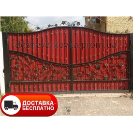 Ворота с элементами художественной ковки и профнастилом