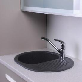 Овальная гранитная плита мойка Fancy Marble Yuta 102060004 цвет светло-черный