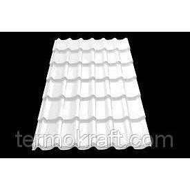 Металлочерепица Монтеррей 0,4 мм полиестер белый