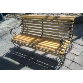 Лавочка деревянная с элементами ковки 550х1000х1500