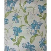 Паперові шпалери Шарм прості 134-04 Джулія бірюзово-голубі квіти 0,53х10,05м