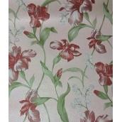 Паперові шпалери Шарм прості 134-06 Джулія бордово-коричневі квіти 0,53х10,05м