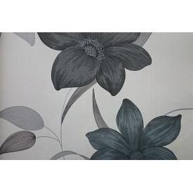 Паперові шпалери Шарм 112-02 Флора Декор квіти сірі 0,53х10,05 м