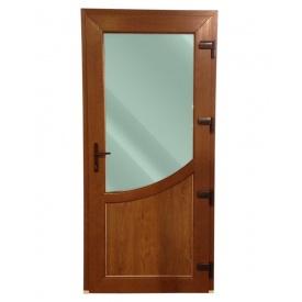 Офисные двери Steko R500 ламинация золотой дуб стеклопаект с декоративным стеклом лабиринт