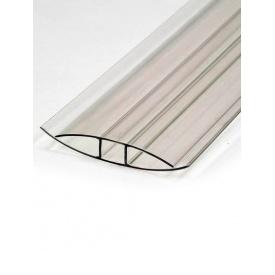 Полікарбонатний профіль з'єднувальний Н-подібний прозорий 4-6 мм