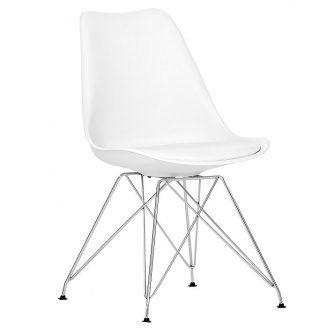 Пластиковый стул SDM Тауэр-С 810х500х430 мм белый с мягкой подушкой ножки метал-Хром