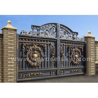Ковані ворота new розпашні закриті з литими центрами і акантавими листям