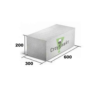 Стіновий газоблок Стоунлайт 200x300x600 мм