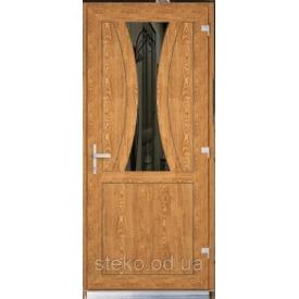 Пластикові вхідні двері Steko двостороння ламінація в масі золотий дуб рефлекторне скло