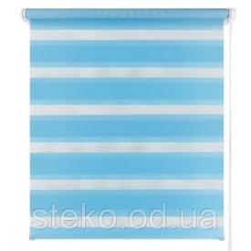Тканевые роллеты день-ночь зебра голубой