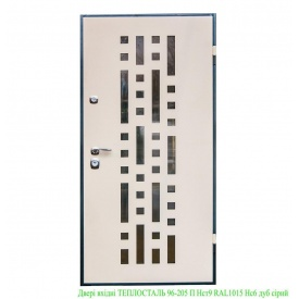 Двери входные Теплосталь 96-205 П Н-ст9 RAL1015 Нс6 дуб серый