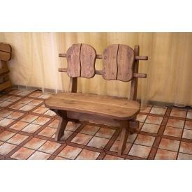 Лавочка скамья со спинкой из термодерева 1100х370 мм Thermo-treated Oak bench 01