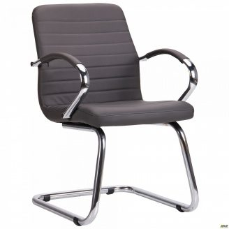 Конференц-крісло AMF Фрідом-CF хром м`яке сидіння кожзам сірий - Неаполь N-24