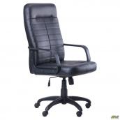 Офісне крісло АМФ Ледлі пластик 1270-1130х620х620 чорний кожзам Скад
