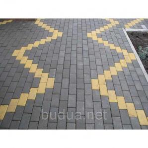"Тротуарная плитка ""Кирпич"" серый, 80мм, 200х100мм"