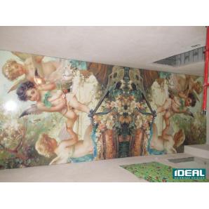 Арт-печать на лаковом натяжном потолке 200 см