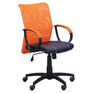 Кресло AMF Лайт Net LB Софт АМФ-8 Неаполь N-20 нитка белая/спинка сетка оранжевая нитка белая
