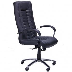 Кресло AMF Парис Хром Кожа Люкс комбинированная черная
