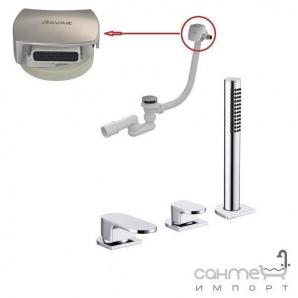 Виразний змішувач для ванни на 3 отвори Ravak Chrome CR 025.01, наповнення через злив-перелив