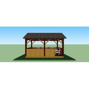 Альтанка дерев'яна відкритого типу 5х3,3 м