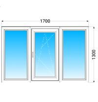 Вікно з трьох частин aluplast IDEAL2000 з однокамерним енергозберігаючим склопакетом 1700x1300 мм