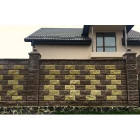 Блок декоративный рваный камень с фаской для забора 390х90х190 мм желтый
