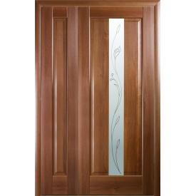 Двери межкомнатные полуторные Премьера Новый Стиль золотая ольха делюкс глухое + стекло Р2