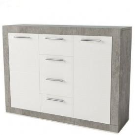 Комод Світ Меблів 2Д4Ш Омега 89x36,6x117 см бетон білий