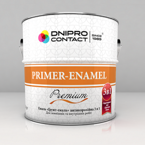 Емаль Дніпро-Контакт Грунт-емаль 3 в 1 2,8 кг біла