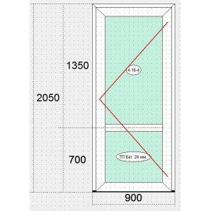 Двері вхідні металопластикові з ПВХ-профілю VEKA 100 ЕКО білі