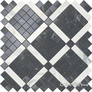 Плитка з білої глини мозаїка Atlas Concorde Marvel Noir Mix Diagonal Mosaic 9MVH