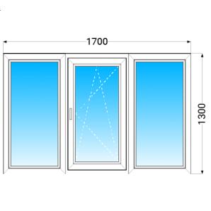 Вікно з трьох частин VEKA EUROLINE з однокамерним енергозберігаючим склопакетом 1700x1300 мм