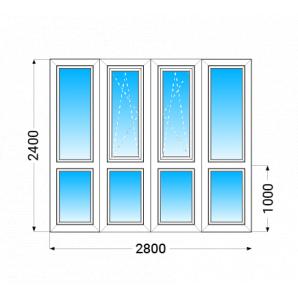 Французький балкон Köning А70 з двокамерним енергозберігаючим склопакетом 2400x2800 мм