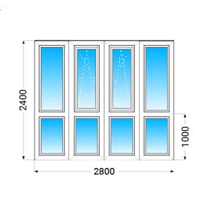 Французький балкон KBE 58 з однокамерним енергозберігаючим склопакетом 2400x2800 мм