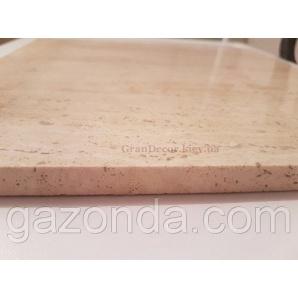 Плитка з натурального каменю травертин білий 1,3х30х30 см світло-бежева