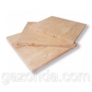 Плитка з натурального каменю травертин білий 1х15х15 см світло-бежева
