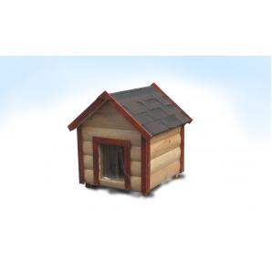 Будка для средней собаки M утепленная двускатная блокхауз сосна 60x75x95 см