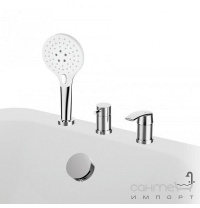 Врізний змішувач для ванни на 3 отвори з наповненням через перелив GRB Premier 50231500 хром