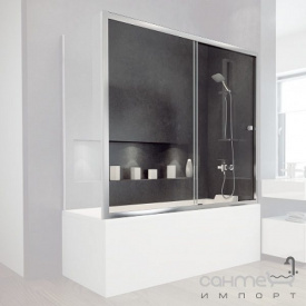 Шторка для ванны раздвижная Besco Duo Slide II 170x150 закаленное прозрачное стекло