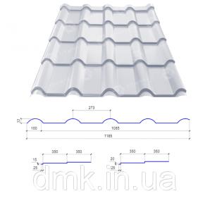 Металочерепиця Сталекс AFINA 350/20 0,50х1185 PEMA RAL 9005 (аналог RR 33) (Фінляндія)