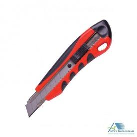 Нож универсальный пластиковый резиновые вставки в блистере 18 мм