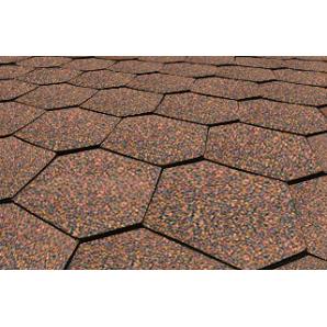Битумная черепица Matizol Hexagon SBS коричневая меланж