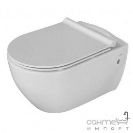 Безободковый підвісний унітаз з сидінням softclose slim дюропластів CeraStyle City АР 0002764 білий