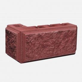 Блок Західтрансбуд Колотый камень угловой 390х190х95х90 мм красный