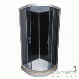 Душовий бокс Atlantis AKL 50P-T ECO GR профіль хром задні стінки чорні двері тоновані