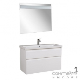 Тумба Аква Родос Еліт консольна 100 см + дзеркало Еліт + раковина Elite ОР0002760 білий