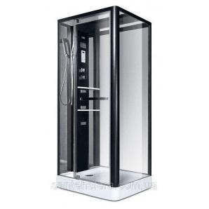 Гидробокс Miracle NA 112-3 A 100х80 см профиль черный стекло прозрачное задняя стенка и крыша зеркальные