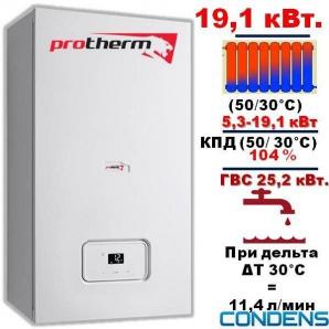 Котел газовий настінний Protherm Lynx Condens 18/25 MKV 19,1 кВт Рись Конденс